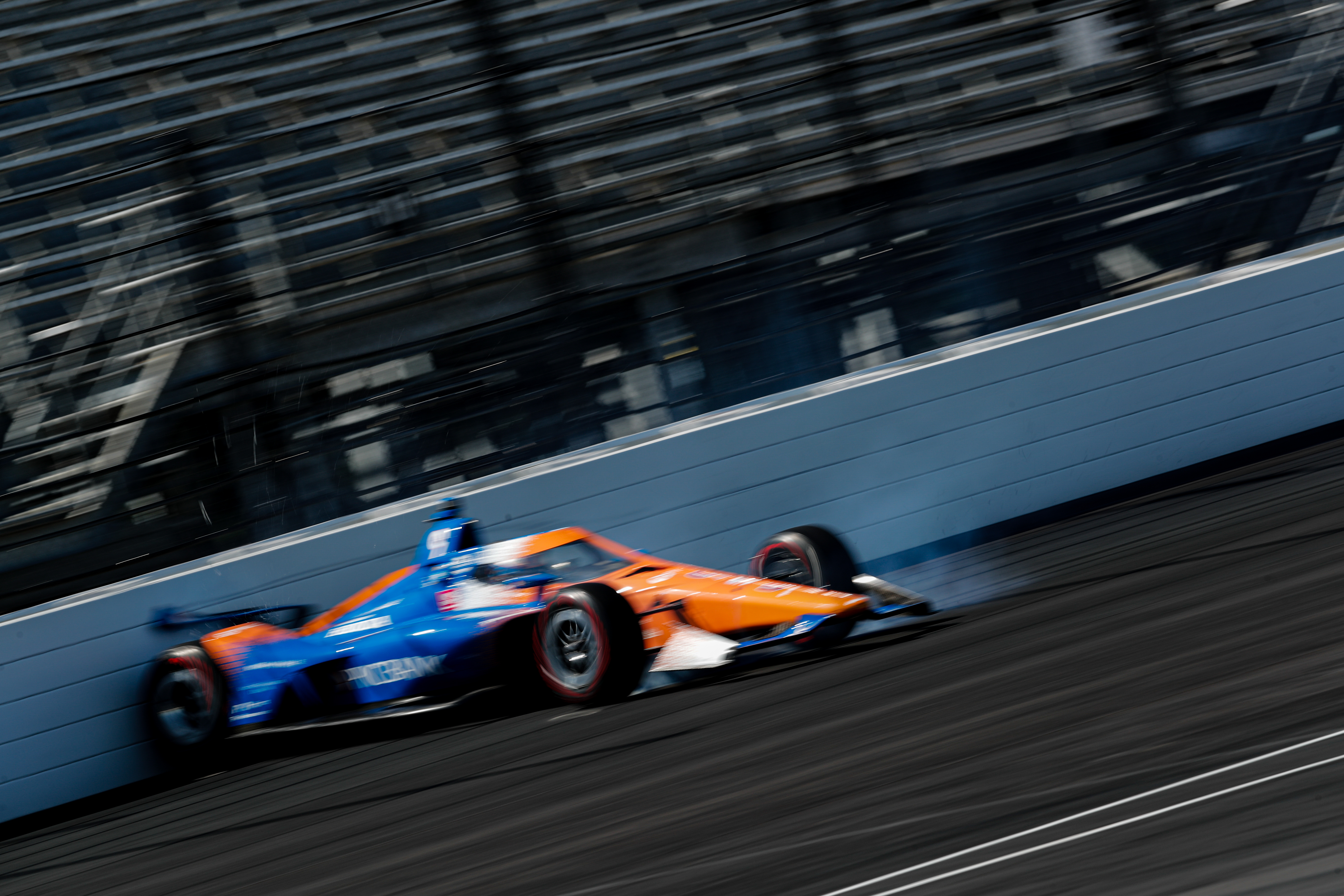 Dixon spins off the fourth turn at Indianapolis.